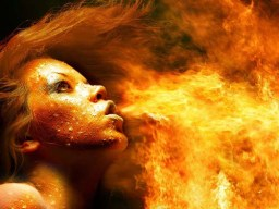 Woman in fire