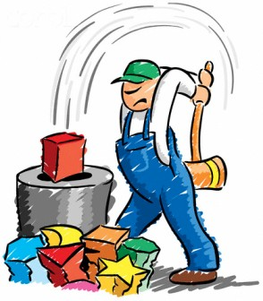 Worker Hammering Square Peg into Round Hole