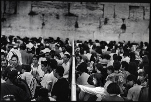 Men's and women's section at Kotel (Wailing Wall) on Tisha B'Av- mechitza