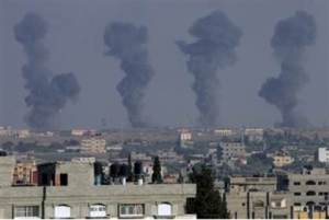 Smoke rises from Gaza airport